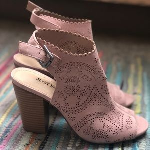 Blush Colored Open Toe, Open Back Bootie
